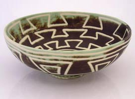 ceramic salad bowl with precolumbian decoration, ensaladera ceramica con decoracion prehispanica
